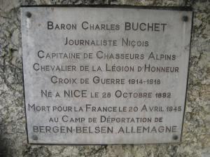 Herdenking van Baron Buchet.  Die lasste drie reels dui sy einde.