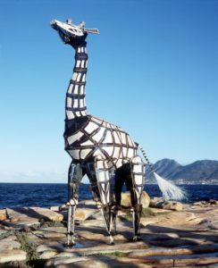 Die Handspring-kameelperd, amper lewensgrootte